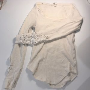 Free People Tops - Free people cream long sleeve shirt